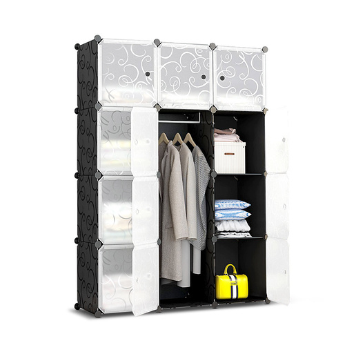 12 Cube Portable Storage Cabinet Wardrobe - Black