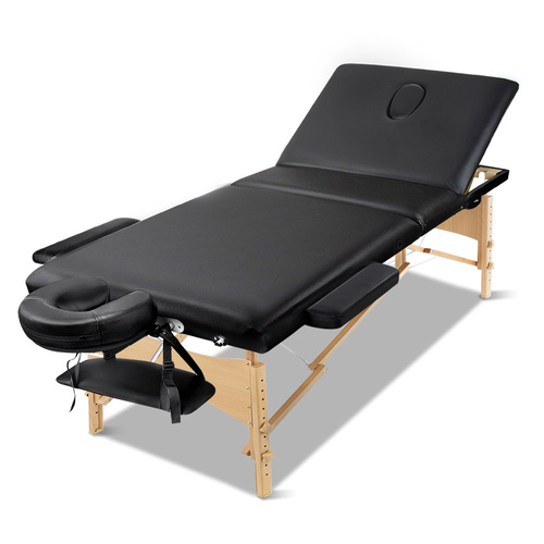 Zenses 75cm Wide Portable Wooden Massage Table 3 Fold Treatment Beauty Therapy Black