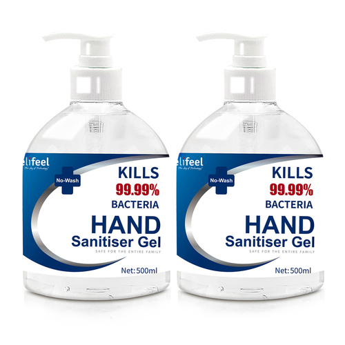 Relifeel Hand Sanitiser 1L 500mL x2 72% Alcohol Sanitizer Gel Instant Wash