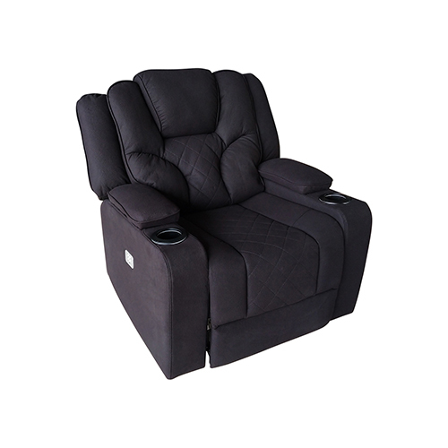 Arnold Rinho Fabric Black Headrest Padded Seat Recliner Sofa 1R