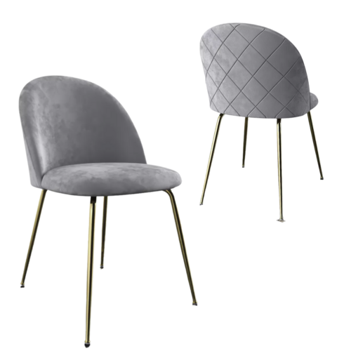 Adie Grey Velvet Dining Chair with Gold Legs Set of 2