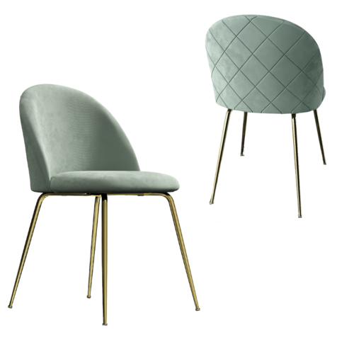Adie Mint Velvet Dining Chair with Gold Legs Set of 2