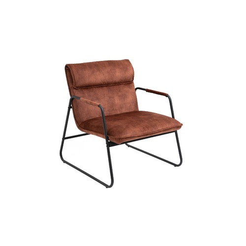 Amber Brown Polyester Upholstered Armchair Lounge Chair with Sled Base